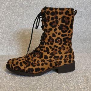 Leopard Print Combat boot